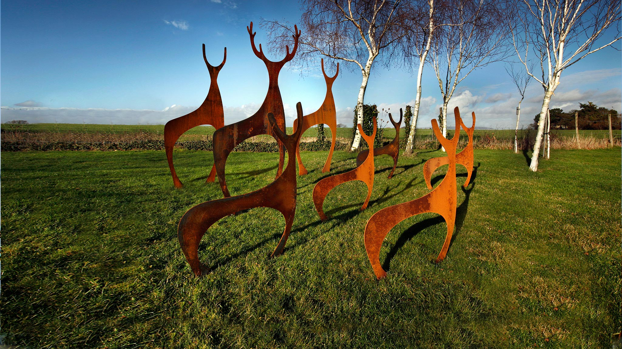Metal Deer Garden Sculptures