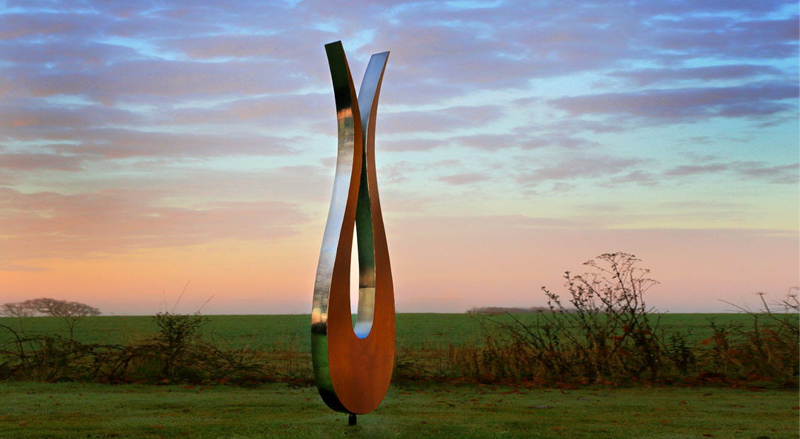 The Tulip sculpture by Simon Hempsell contemporary stainless steel sculpture
