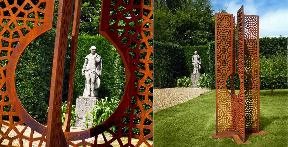 large garden sculpture created from corten steel contemporary
